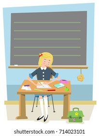 Girl student sitting in classroom, writing on paper, stationery and school equipment on table; blackboard in background left blank for your text (vector illustration)