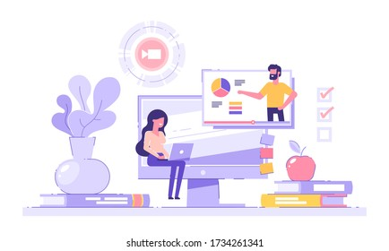 Girl student studying at home with her laptop with piles of books and  pc on the background. E-learning, webinar, online video training, distance education concept. Modern vector illustration.