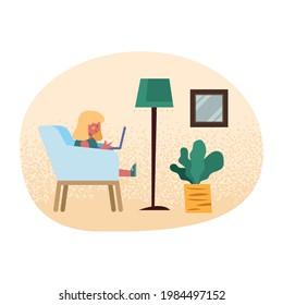 girl studing in livingroom scene