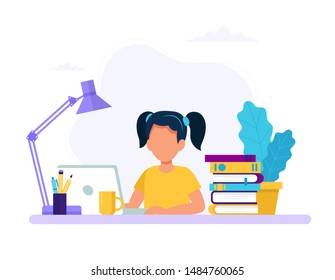 Girl studying with computer and books. Back to school, online education concept vector illustration in flat style