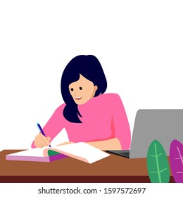 Girl studying illustration. Vector illustration. Eps 10