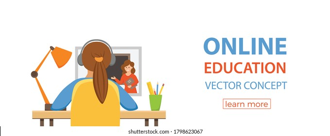 Girl studying online education at home cartoon vector illustration. Student workplace desktop computer doing homework surfing internet e-learning school lesson concept. Pupil kid learning process
