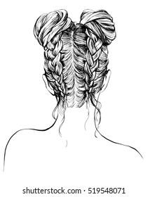 girl with stylish hair bun and braids
