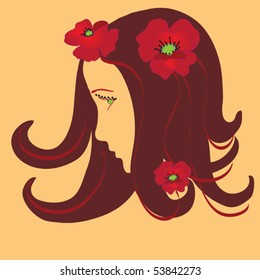 Girl stylized profile with poppies