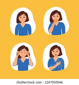 Girl suffers from panic attack cartoon style concept. Depression symptoms, risk factors woman vector illustration for medicine infographic, websites, brochures, magazines.