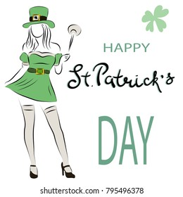 The girl in the suit of leprechauns. The inscription is handwritten by St. Patrick's Day. Colored, vector illustration.