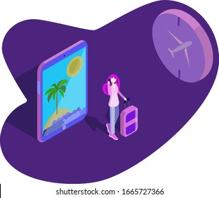 girl suitcase tablet airplane summer beach isometry