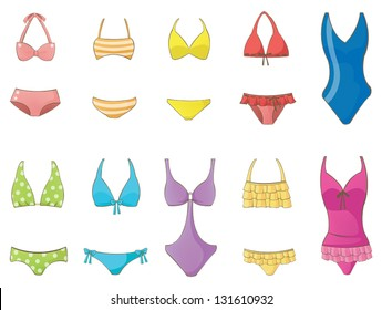 91a79dde9b Girl summer fashion Swimsuit and bikini icon collection set