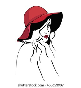 The girl in a summer hat. Sketch of beautiful women. Vector illustration