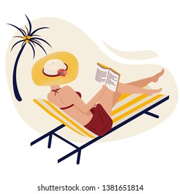 Girl in summer on the beach reads. A woman is lying in a striped chaise lounge in a fashionable striped hat. Yellow Panama, a book and a swimsuit. Remote learning. Vector isometric image