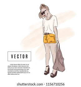 Girl in Summer outfit: shorts, t shirt, bag, sunglasses sketch  illustration. Fashion watercolor drawing. Beautiful female model. Street style Magazine look. Glamour hand drawn print