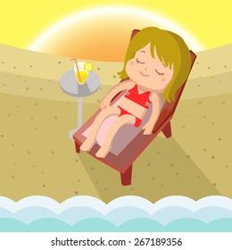 Girl Sunbathe Mascot cartoon great for any use. Vector EPS10.