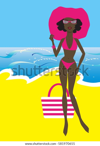 girl sunbathe on the sea beach wearing pink hat and sunglasses