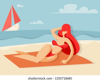Girl sunbathes on the beach and looks at the ship with red sails. Vector illustration in flat style