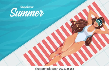 Girl sunbathing on a mat near the swimming pool. Summer vacation concept. Vector illustration