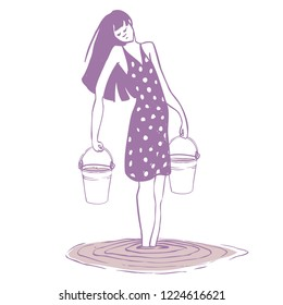 girl in a sundress in the water with two buckets in their hands. vector illustration