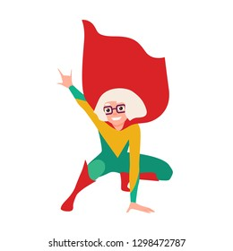 Girl superhero or supergirl. Smiling heroic child wearing bodysuit, cape and glasses in squatting posture. Strong, smart and brave kid, fantastic character. Vector illustration in flat cartoon style.