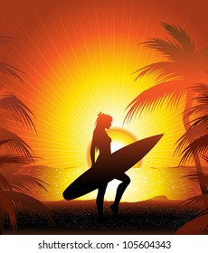 girl surfer on the beach (also available  jpg version)