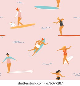 Girl surfers in bikini seamless pattern in vector. Flat style illustration. Summer beach surfing illustration. Longboard women surfing.