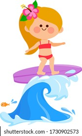 Girl surfing on a wave in the sea. Vector illustration