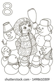 A girl surrounded by 8 snowmen, built a dance of snowmen. The image is intended as a coloring book, teaching counting.