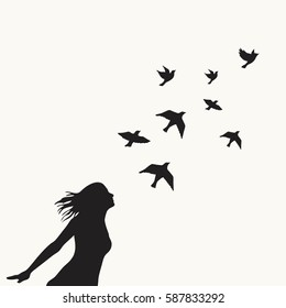 The girl with swarm of birds.