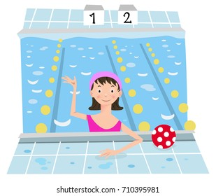 Girl in swimming bath, waving hello to viewer (flat color illustration)