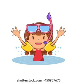 Girl swimming, inflatable armbands, vector illustration