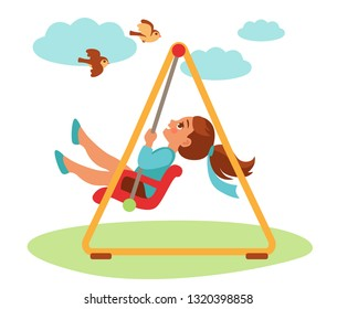 girl swinging on a swing and looking up at the birds