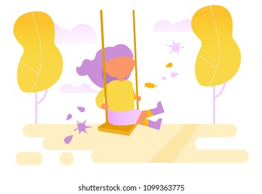 Girl swinging on a swing  Vector. Cartoon. Isolated art on white background. Flat