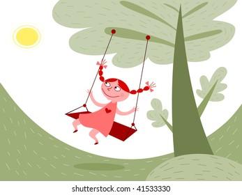 Girl swinging - vector