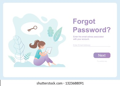 Girl with tablet pc and speech bubble with key,forgot password template banner,security web page,flat vector illustration in trendy style