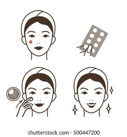 Girl take care of her face. Pimple patch procedure. Vector illustration.