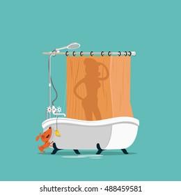 Girl takes a bath. Vector illustration.