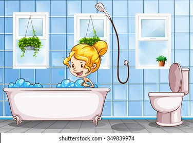 Girl taking bath in the bathroom illustration