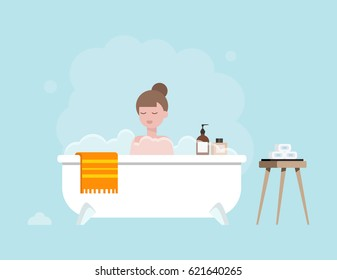 Girl taking bath in the bathtub with bubbles flat illustration. Bathroom interior.