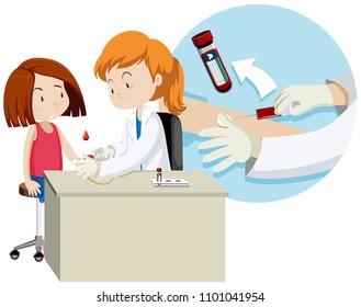 A Girl Taking Blood Test illustration