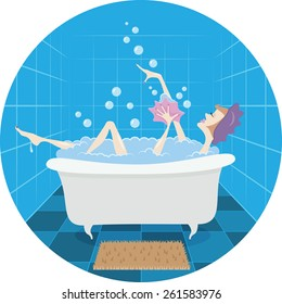 Girl taking bubble bath. Vector illustration.