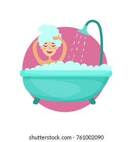 Girl taking a bubble bath and washing her hair, woman caring for herself, healthy lifestyle vector Illustration