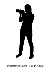 Girl is taking photo silhouette vector. Person concept.