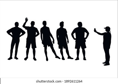 girl taking pictures by phone of a group of men in shorts, vector silhouettes