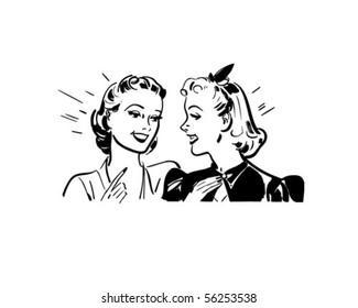 Girl Talk - Retro Clip Art