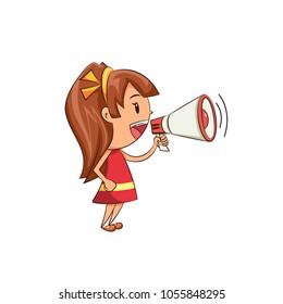 Girl talking megaphone