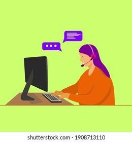 girl talks in an online conversation illustration