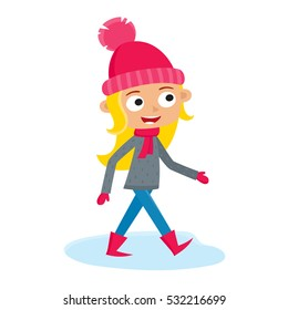 Girl teenage walking, cartoon vector illustration isolated on white background. Full portrait of blondy teenage in pink hat and mittens, fun winter activity, outdoor leisure time.