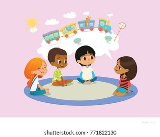 Girl telling fairy tale to other children sitting on round carpet against cartoon train with colorful cars inside speech bubble on background. Kids listening to storyteller. Vector illustration