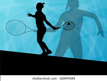 Girl tennis players active sport silhouettes vector background illustration