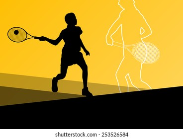 Girl tennis players active sport silhouettes vector abstract background illustration