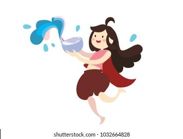 girl in Thai dresses splashing water for Songkran festival vector