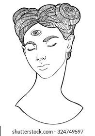 Girl with third eye. Occult illustration. Beautiful girl with third eye Illustrationl for the tattoo and stickers, banners.